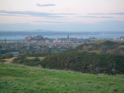 View of Edinburgh Castle and the city from the Braid Hills, a 10-15 minute walk from the house