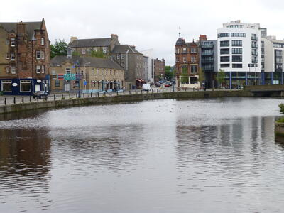 A view of the Water of Leith with the apartment in the top right of the photo